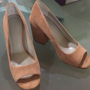"3 .75"" covered heel, suede open toe pumps"